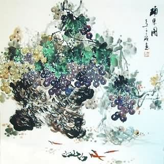 Chinese Grape Painting,69cm x 69cm,2554003-x