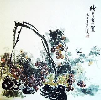 Chinese Grape Painting,69cm x 69cm,2554004-x