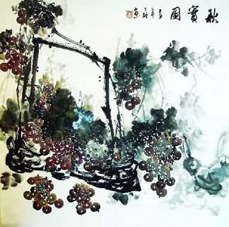 Chinese Grape Painting,69cm x 69cm,2554005-x