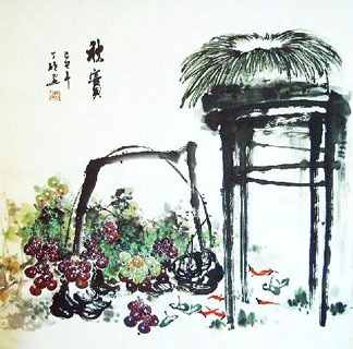 Chinese Grape Painting,69cm x 69cm,2554006-x