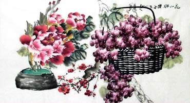 Chinese Grape Painting,50cm x 100cm,2556001-x