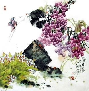 Chinese Grape Painting,69cm x 69cm,2556002-x