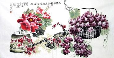 Chinese Grape Painting,69cm x 138cm,2556008-x