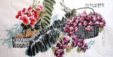 Chinese Grape Painting,69cm x 138cm,2556009-x