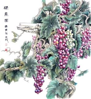 Chinese Grape Painting,62cm x 62cm,2557001-x