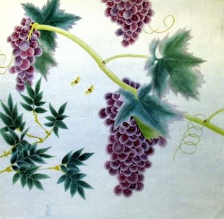 Chinese Grape Painting,66cm x 66cm,2603014-x
