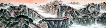 Chinese Great Wall Painting,96cm x 360cm,1013010-x