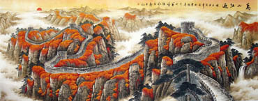 Chinese Great Wall Painting,140cm x 360cm,1026001-x