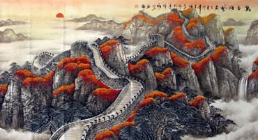 Chinese Great Wall Painting,97cm x 180cm,1026004-x