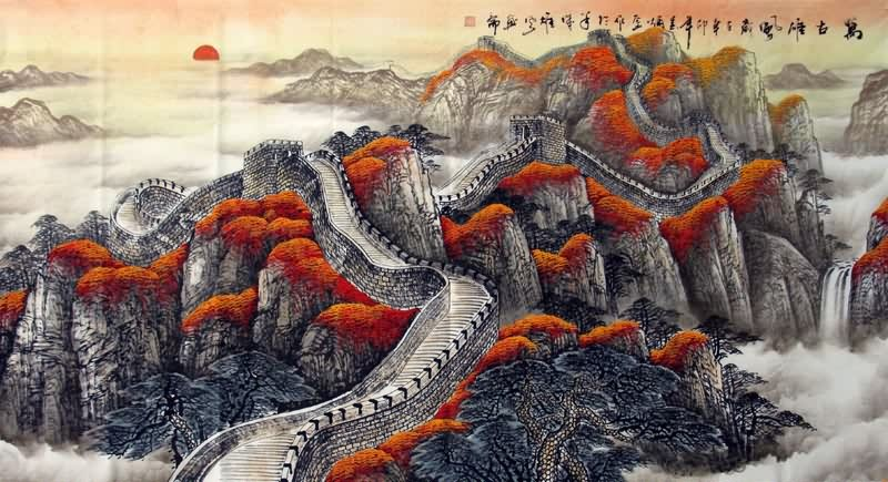 Chinese Great Wall Painting Great Wall 1026004, 97cm x 180cm(38〃 x ...