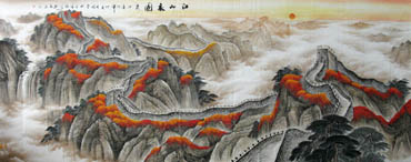 Chinese Great Wall Painting,140cm x 360cm,1026005-x
