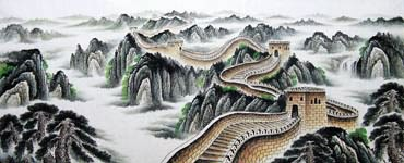 Chinese Great Wall Painting,96cm x 240cm,1085023-x