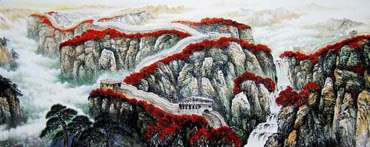 Chinese Great Wall Painting,150cm x 350cm,1086014-x
