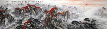 Chinese Great Wall Painting,97cm x 340cm,1086016-x