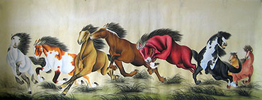 Chinese Horse Painting,70cm x 180cm,4011010-x