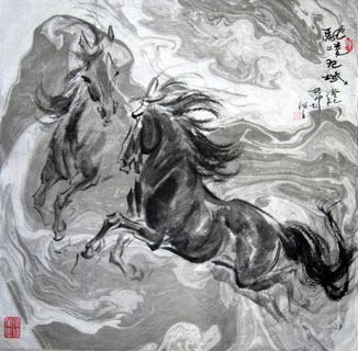 Chinese Horse Painting,66cm x 66cm,41094001-x