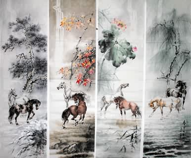 Chinese Horse Painting,38cm x 138cm,4524001-x