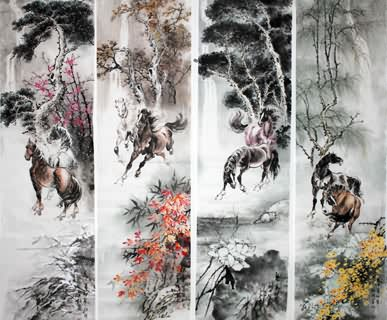 Chinese Horse Painting,38cm x 138cm,4524002-x