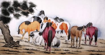 Chinese Horse Painting,120cm x 240cm,4670008-x