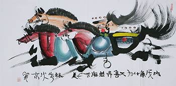 Chinese Horse Painting,68cm x 136cm,4671010-x