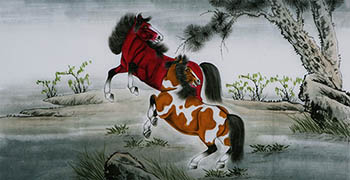 Chinese Horse Painting,68cm x 136cm,4671011-x