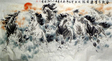 Chinese Horse Painting,97cm x 180cm,4695055-x