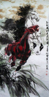 Chinese Horse Painting,68cm x 136cm,4695063-x