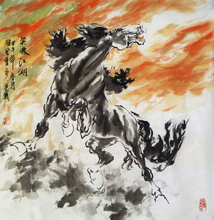 Chinese Horse Painting,68cm x 68cm,4695072-x