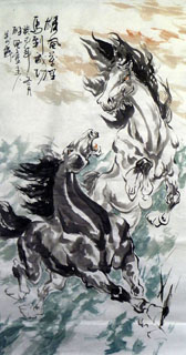 Chinese Horse Painting,68cm x 136cm,4695073-x