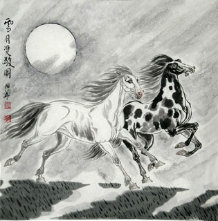 Chinese Horse Painting,66cm x 66cm,4720033-x