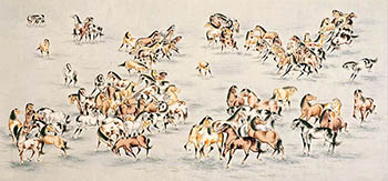 Chinese Horse Painting,69cm x 138cm,4731073-x