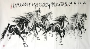 Chinese Horse Painting,97cm x 180cm,4736001-x
