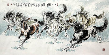 Chinese Horse Painting,70cm x 180cm,4736013-x