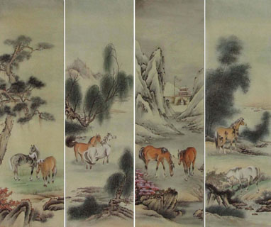 Chinese Horse Painting,35cm x 110cm,4802001-x
