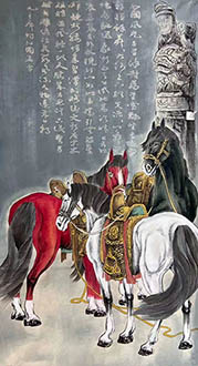 Chinese Horse Painting,69cm x 138cm,lzx41188001-x