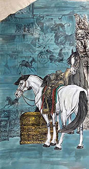 Chinese Horse Painting,68cm x 136cm,lzx41188003-x