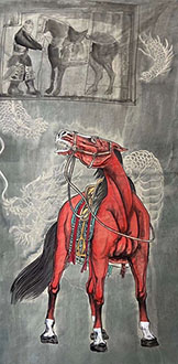 Chinese Horse Painting,68cm x 136cm,lzx41188004-x