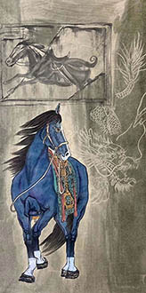 Chinese Horse Painting,68cm x 136cm,lzx41188005-x