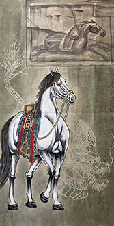 Chinese Horse Painting,68cm x 136cm,lzx41188008-x