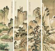 Four Screens Of Chinese Paintings On Rice Paper Or Silk Are Peculiar To Painting In A Set Vertical Pieces At The Same