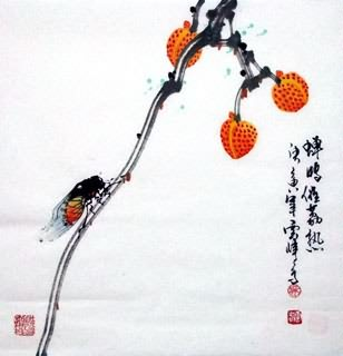 Chinese Insects Painting,40cm x 40cm,2408006-x