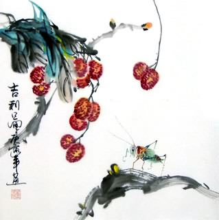 Chinese Insects Painting,33cm x 33cm,2572001-x