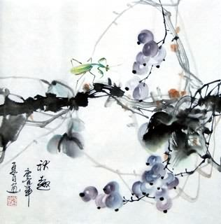Chinese Insects Painting,33cm x 33cm,2572005-x
