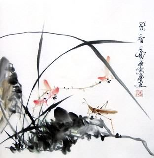 Chinese Insects Painting,33cm x 33cm,2572006-x