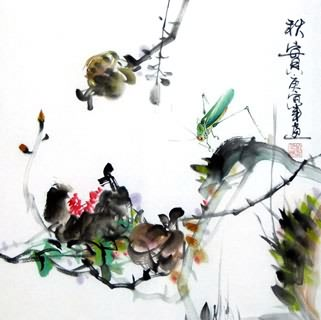 Chinese Insects Painting,33cm x 33cm,2572007-x