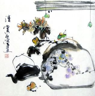 Chinese Insects Painting,33cm x 33cm,2572009-x