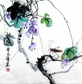 Chinese Insects Painting,33cm x 33cm,2572010-x