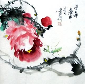 Chinese Insects Painting,33cm x 33cm,2572012-x