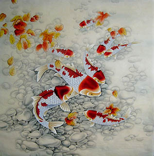 Chinese koi fish paintings chinese scroll with koi fish for Chinese koi fish painting