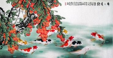 Chinese Koi Fish Painting,69cm x 138cm,2078016-x